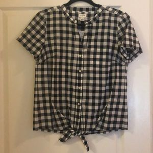 NWT J. Crew Black and White Gingham Tie Front